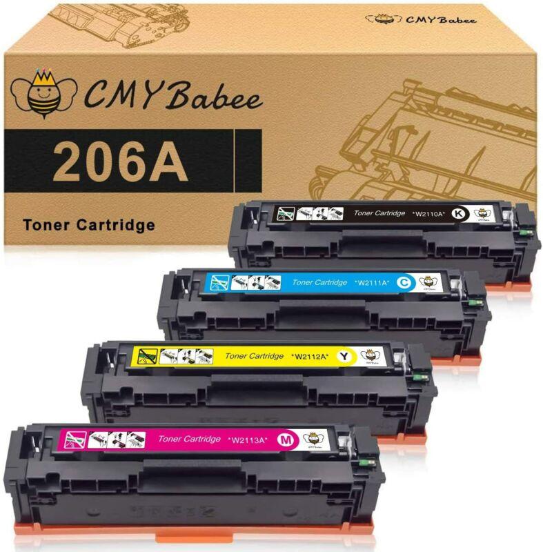 4 Pack Toner for HP 206A W2110A Color LaserJet Pro M255dw MFP M283fdw No Chip