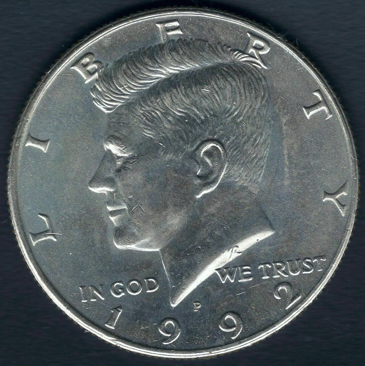 1992 P Kennedy Half Dollar Uncirculated Lovely Coin - HI RES SCANS - $3.00