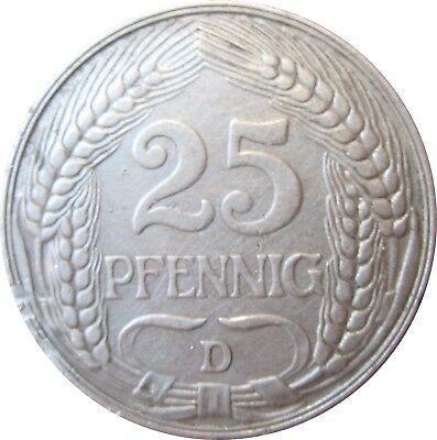 J 18  25 Pfennig Kaiserreich von 1909 D in SS-VZ   666 167
