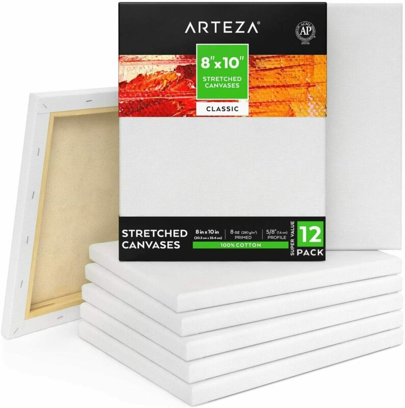 "ARTEZA Stretched Canvas, Classic, 8"" x 10"", Pack of 12"