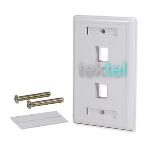 5 Pack Lot 2 port Hole Keystone Jack Wall Plate -White