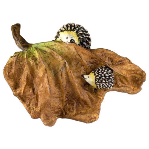 """Hedgehogs Hide & Seek On Leaf Figurine 3.75"""" Long Resin New In Box!"""