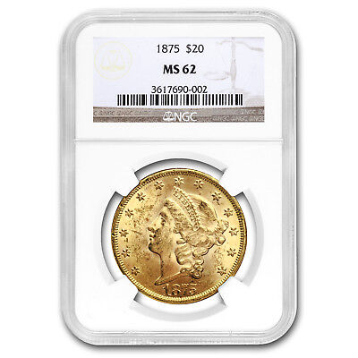 1875 $20 Liberty Gold Double Eagle MS-62 NGC - SKU#161684