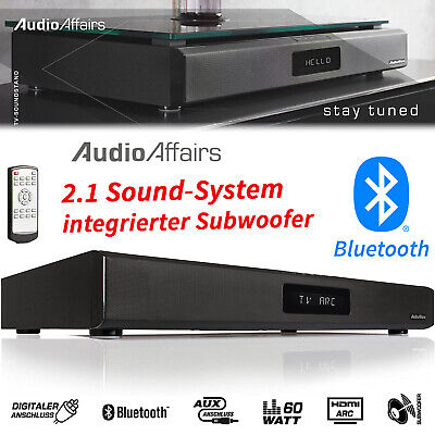 AudioAffairs Bluetooth Tisch Soundbar Subwoofer TV Heimkino System Lautsprecher