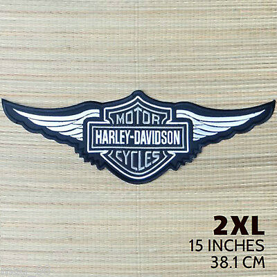 Harley Davidson Silver Logo with Wings Sew-on Patch (2XL)