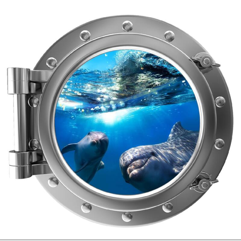 "12"" PortScape Instant Sea Window Dolphins 1 Wall Decal Porthole Graphic Sticker"