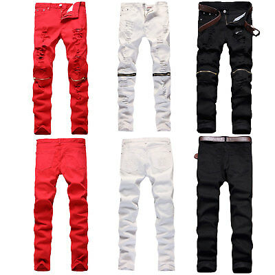 Trendy Men Retro Stretchy Skinny Distressed Pants Knee Zipper Ripped Denim Jeans