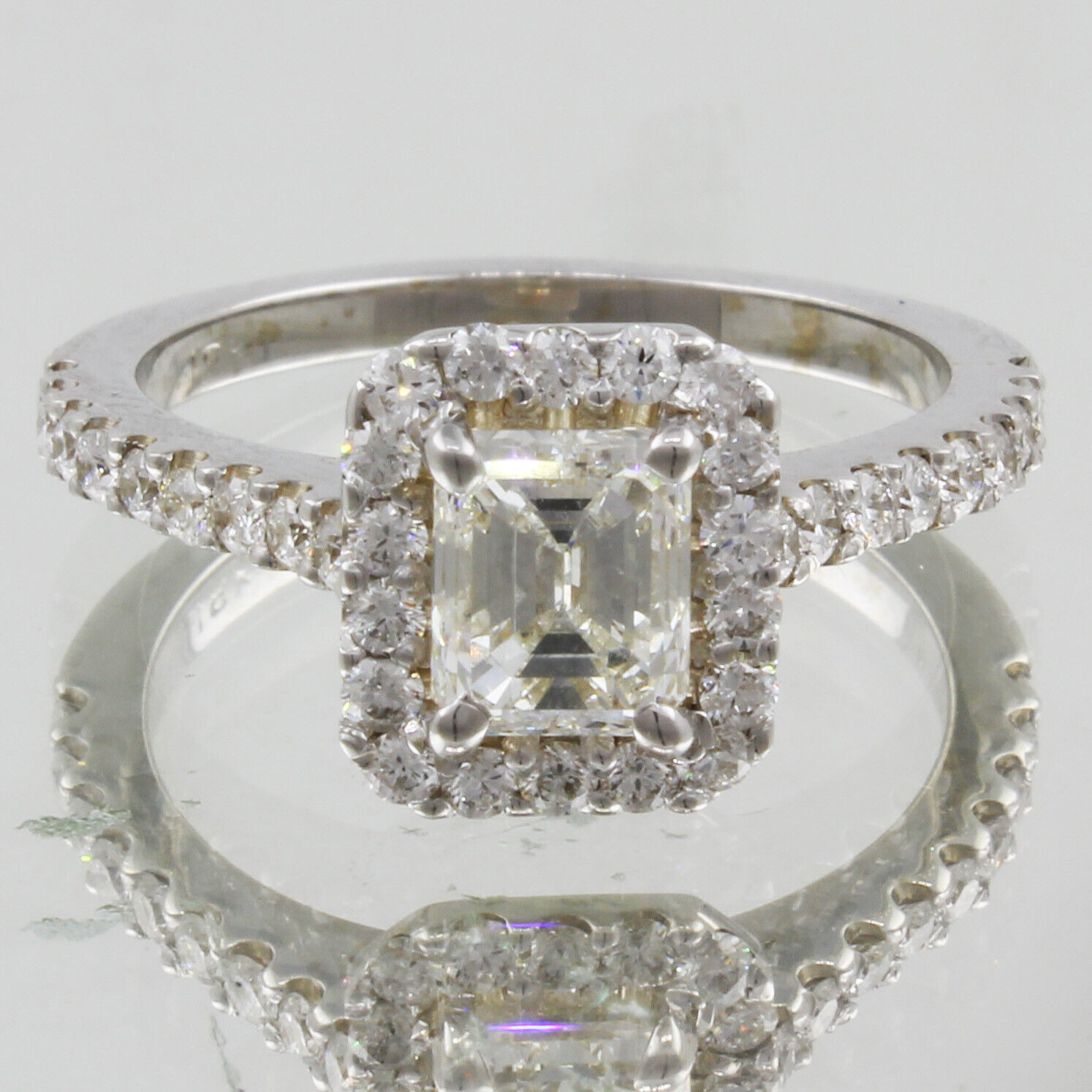 GIA Certified Diamond Engagement Halo Ring 2.13 CTW Emerald Cut  18k White Gold