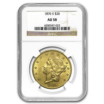 1876 S $20 LIBERTY GOLD DOUBLE EAGLE AU 58 NGC   SKU 17145