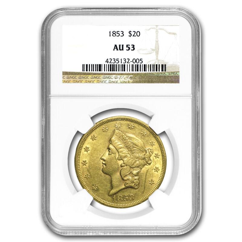 1853 $20 Liberty Gold Double Eagle AU-53 NGC - SKU #95739