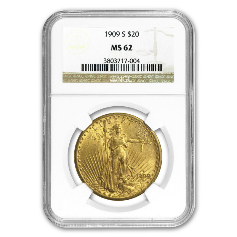 1909-S $20 Saint-Gaudens Gold Double Eagle MS-62 NGC