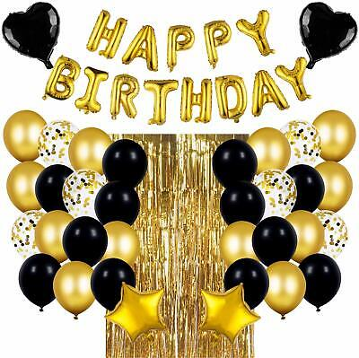 Gold Party Supplies (Black & Gold Birthday Party Decorations Set with Happy Birthday Balloons)