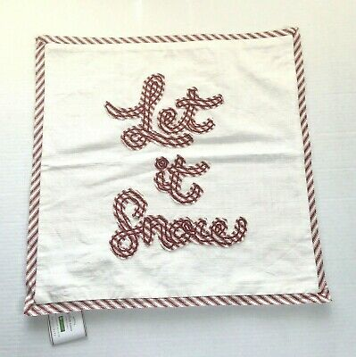 """Pottery Barn Christmas Let It Snow Applique Pillow Cover 18""""x18"""" Red Ticking NEW"""