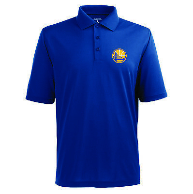 Golden State Warriors Antigua Embroidered Pique Xtra Lite Blue Polo Golf Shirt