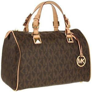 New-MICHAEL-KORS-Grayson-Large-Logo-Satchel-Womens-Handbag-Brown-30T1MGYS3B