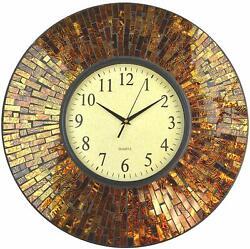 Lulu Decor, 19 Baltic Amber Mosaic Wall Clock with 9.5 Brown Arabic Glass Dial