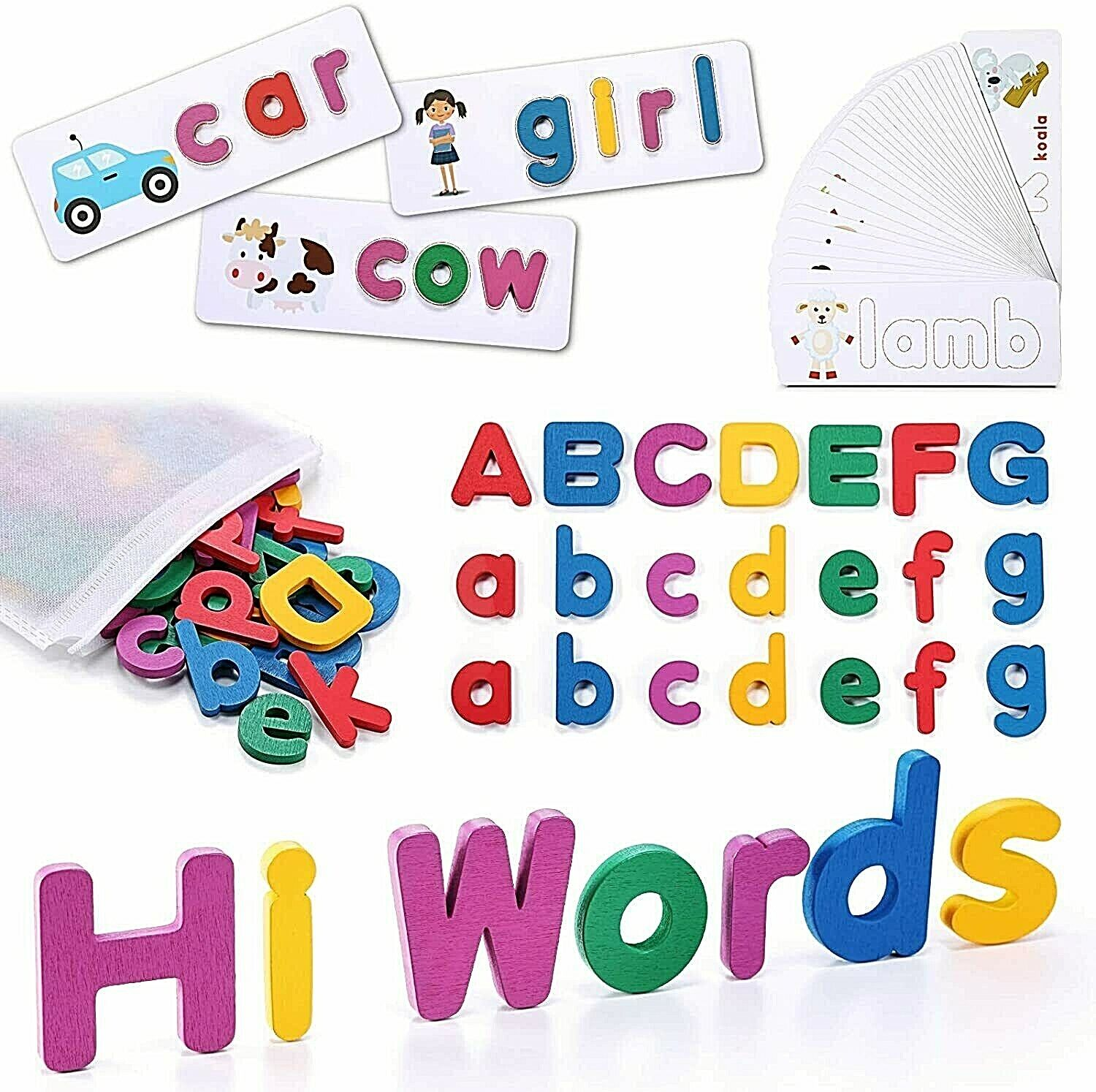 Kids Toys See and Spell Flash Cards Spelling Games Learning Toys for 2+ Year Old Educational