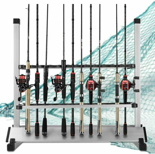 Aluminum Alloy Fishing Rod Holder Stand 24 Universal Rod Pole Storage Organizer