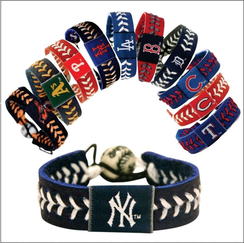 MLB -Team Color Leather Baseball Bracelet - Pick Team