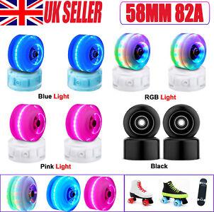 4PCS Flashing Light Up Quad Roller Skate Wheels Luminous Wheels with Bearings UK