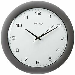 Seiko Wall Clock Silver-Tone Metallic Case , New, Free Shipping