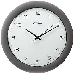 Seiko Wall Clock Silver-Tone Metallic Case , New, Free Shipping