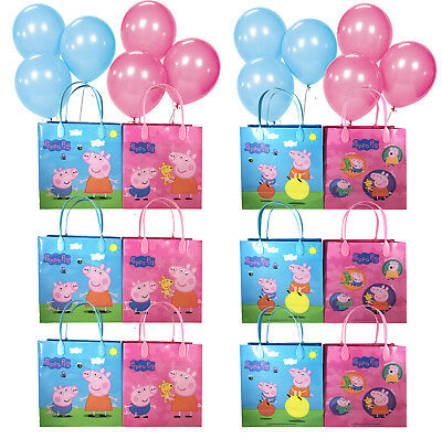 12pc Peppa Pig Medium Goody Party Favor Goodie Gift Bag Birthday w/Free Balloons
