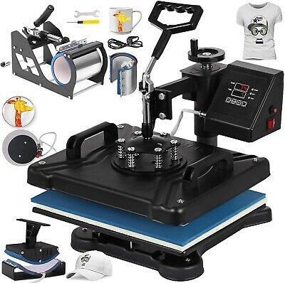 6 In 1 Heat Press Machine Transfer Sublimation T-shirt Mug Cup Plate Cap Hat