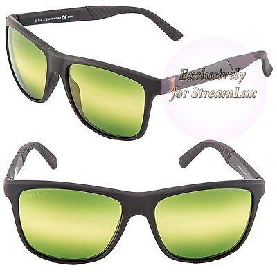507e43ccd7 GUCCI GG 1047 B S DL5CJ Square Men s Sunglasses Black Green Striped Lenses