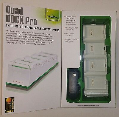NEW DreamGEAR Xbox 360 White Quad Dock Pro Charges 4 batteries -