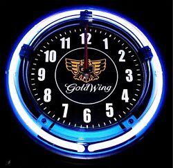 GOLDWING MOTORCYCLES LOGO - 11 Blue Neon Wall Clock