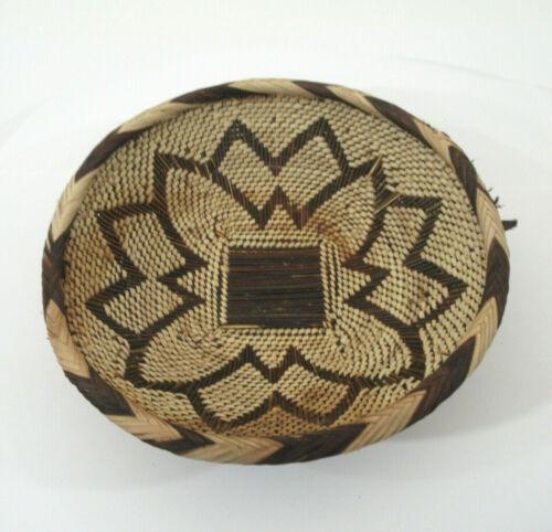 "Vtg African Woven Rigid Twig Bottom Natural Basket Bowl Tribal Pattern 10"" x 3"""