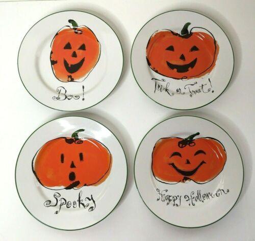 "Rosanna (4) Round 8"" Plates SPOOKY BOO TRICK OR TREAT HAPPY HALLOWEEN"