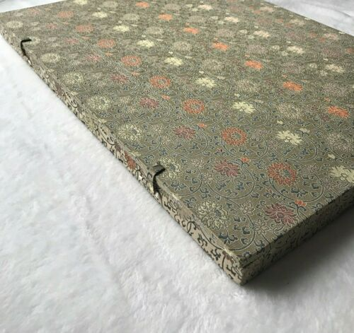 """Huge 15.25"""" x 21"""" Vintage Chinese Padded Fabric Box w/Reproduction Scroll"""