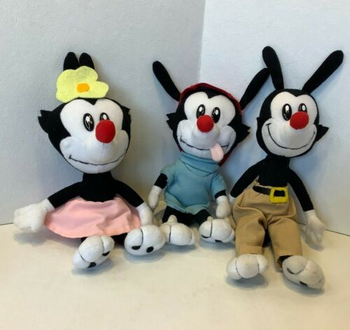 Lot of 3 Vintage Rare Animaniacs Plush Complete Set Dot Yakko Wacko Warner 9""