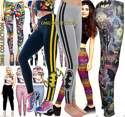 Womens New Ladies Comic Superman Batman Skull Boom Leggings Pants Size 8-24