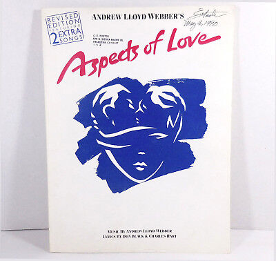 Andrew Lloyd Webber 1990 Aspects of Love Vocal Selections Song Book 75 Pages