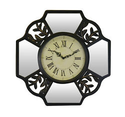 Leaves & Mirror Brown Wall Clock Roman Numerals, Vintage Style Nature Wall Art