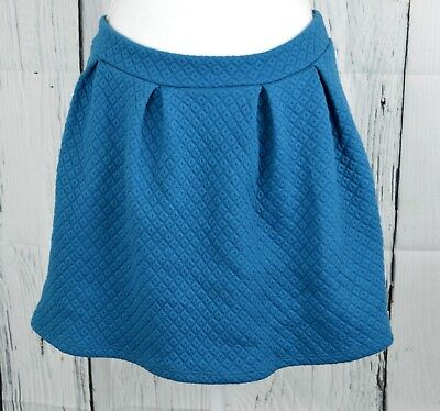 Francesca's Alya Juniors Pleated Skater Mini Skirt Quilted Look Teal M