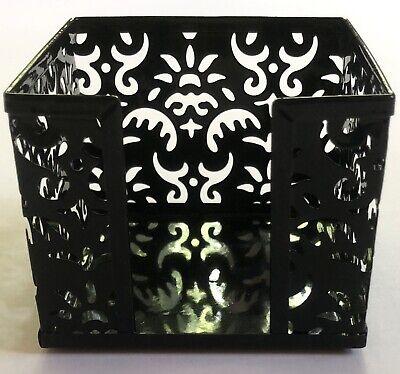 New Realspace Black Pierced Metal Memo Cube Post It Note Holder Desktop Lacelook