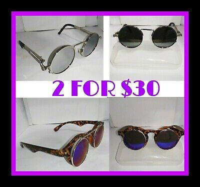 2 PAIR UNBRANDED STEAMPUNK RETRO STYLE SUNGLASSES 1-FLIP-UP ON ONE PR. PRE-OWNED