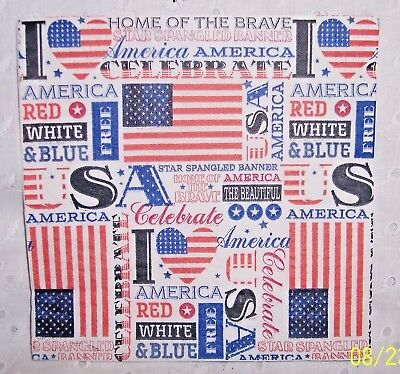 """3 PAPER NAPKINS:CELEBRATE AMERICA HOME OF THE BRAVE: 2 PLY-13""""=CRAFTS-DECOUPAGE"""