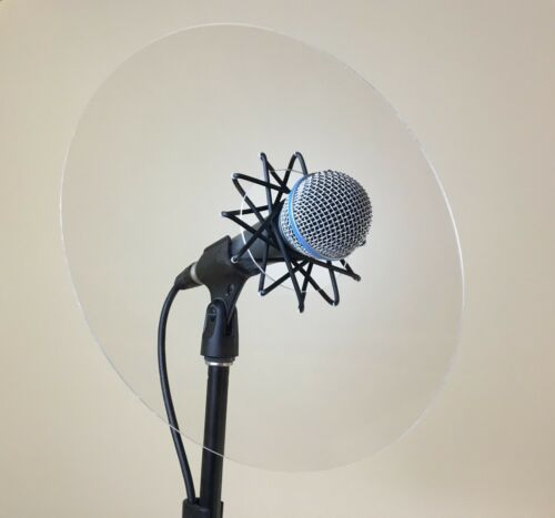 Trumpet microphone reflector shield for live sound monitoring, fits most mics