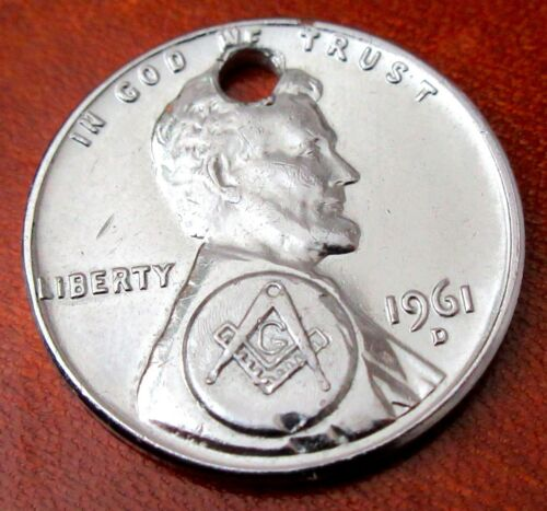Vintage 1961D Masonic Penny  Pendant Charm Hole Punch Silver Electroplated Cent