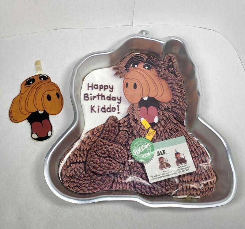 "Alf Alien Aluminum Cake Pan Vintage 1988 Wilton ""Happy Birthday Kiddo"" w Face"
