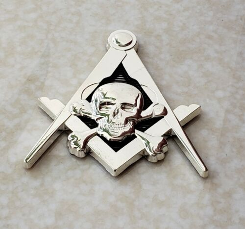 Masonic Master Mason WIDOWS SON SKULL Square & Compass Car Auto Emblem SILVER