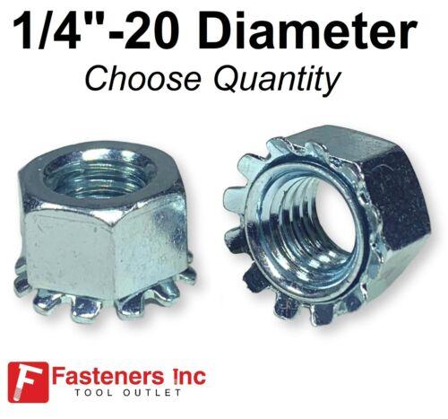 """1/4""""-20 K Lock Hex Star Lock Nuts Keps Zinc Plated COARSE Thread (Pick Quantity)"""
