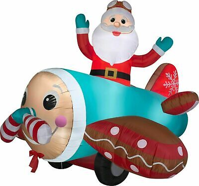 7 Ft ANIMATED SANTA IN GINGERBREAD AIRPLANE Airblown Lighted Yard Inflatable