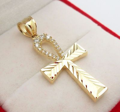 - Egyptian Ankh Cross Pendant 10k Yellow Gold Cross Charm Pendant