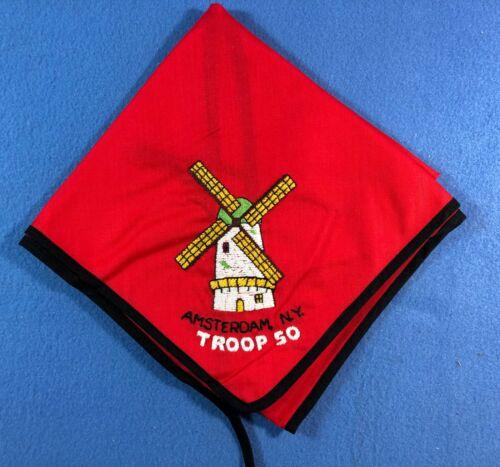 Vintage Boy Scout Neckerchief - Troop 50 Amsterdam New York Windmill Embroidered